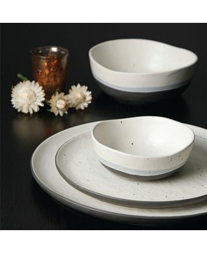 Gibson Elite Rhinebeck 16 Piece Double Bowl Dinnerware Set, White/Black