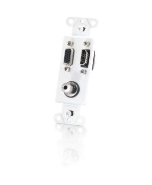 C2G HDMI, VGA and 3.5mm Audio Pass Through Wall Plate - White