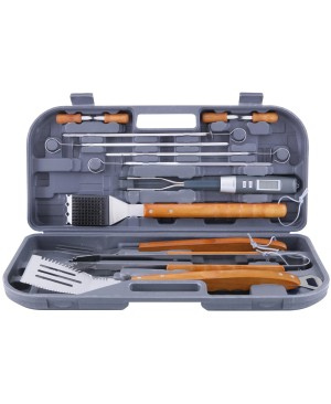 Mr. Bar.B.Q 12 Piece Stainless Steel Tool Set with Bonus Electronic Barbecue Fork