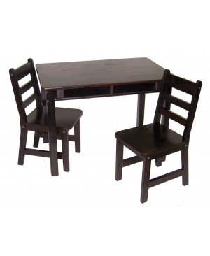 Lipper Child's Rectangular Table with Shelves & 2 Chairs, Espresso Finish