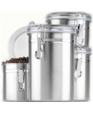 Anchor Hocking 4 Pc. Stainless Steel Clamp Canister Set w/Clear Lid