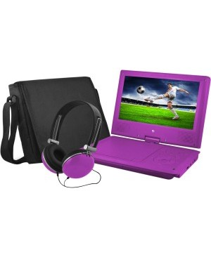 """Ematic EPD909 Portable DVD Player - 9"""" Display - 640 x 234 - Purple"""