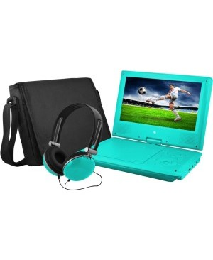 """Ematic EPD909 Portable DVD Player - 9"""" Display - 640 x 234 - Teal"""