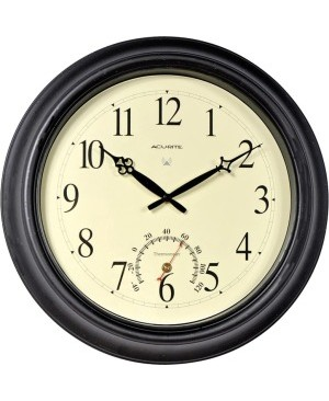 AcuRite 18-inch Atomic Black Metal Outdoor Clock with Thermometer