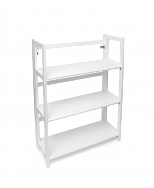 Lipper 3 Shelf Folding Bookcase, White Finish