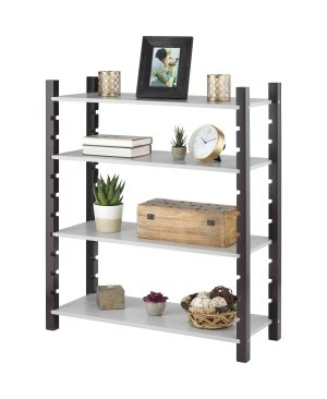 Whitmor Adjustable 4-tier Wood Shelving-Walnut & Gray