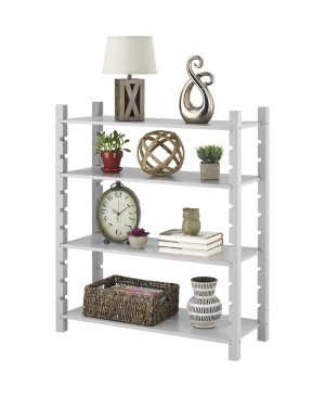 Whitmor Adjustable 4-tier Wood Shelving-Gray