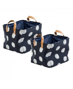 Honey-can-do Canvas Scribble Tote Set of 2, Coastal Collection