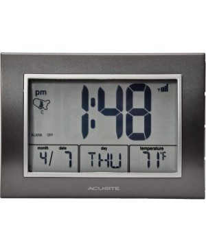 AcuRite 7-inch Atomic Alarm Clock with Date, Day of Week and Temperature