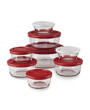 Anchor Hocking 6 Piece Classic Glass Round Food Storage Set, Red Lids