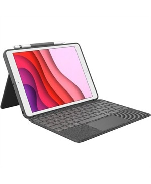 "Logitech Combo Touch Keyboard/Cover Case for 10.2"" Apple, Logitech iPad (7th Generation) Tablet - Graphite"
