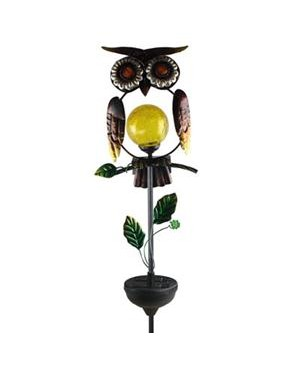 Coleman Cable 92213 Solar Powered White LED Owl Stake Light